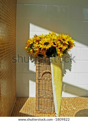 sunflowers in bathroom - stock photo
