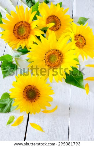 Sunflowers on a white wooden background - stock photo