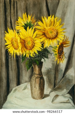Sunflowers. Still life. Watercolor painting. - stock photo
