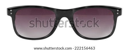 Sunglasses black frame and red color lens isolated against a clean white background nobody - stock photo