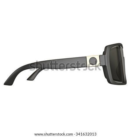 Sunglasses black, side view. 3D graphic isolated object on white background - stock photo