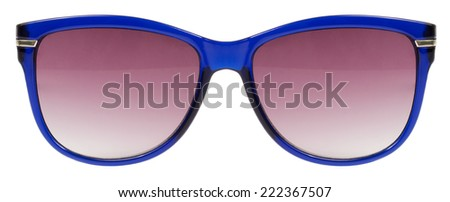 Sunglasses blue frame and red color lens isolated against a clean white background nobody - stock photo