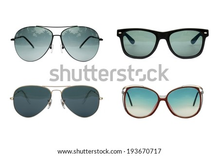 Sunglasses collection isolated on white backogrund, Sunglasses photo set, blue color. - stock photo