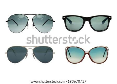 Sunglasses collection isolated on white backogrund, Sunglasses photo set, blue color. - stock photo
