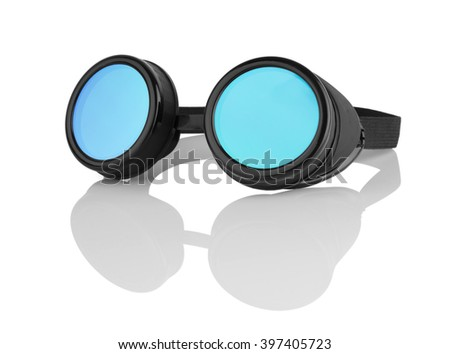 Sunglasses for skiing, fly a plane or riding a bike isolated on white background - stock photo