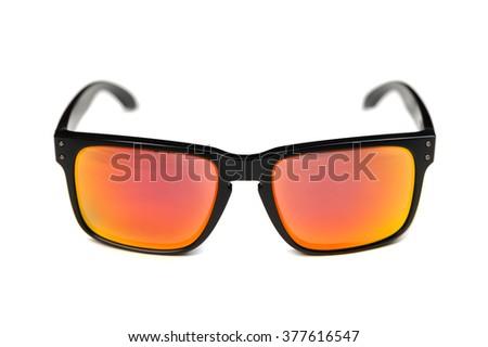 Sunglasses, frame Holbrook, Ruby Iridium lens. Isolate on white. - stock photo