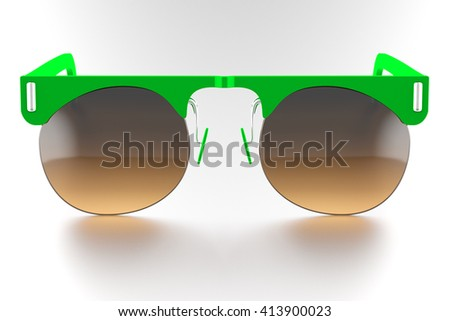 sunglasses isolated on white background. With clipping path. 3D render - stock photo