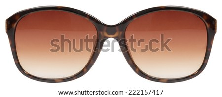 Sunglasses large brown tortois shell frame red lens color isolated against a clean white background nobody - stock photo