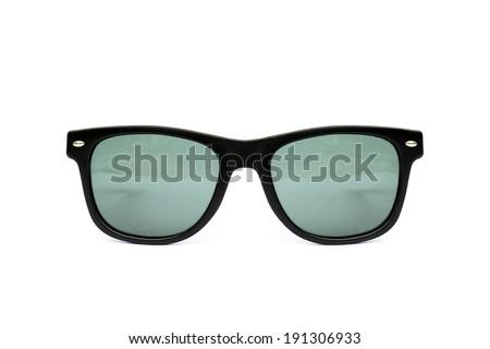 Sunglasses wayfarer shape isolated on white background, Modern sunglasses, Blue, Green, - stock photo