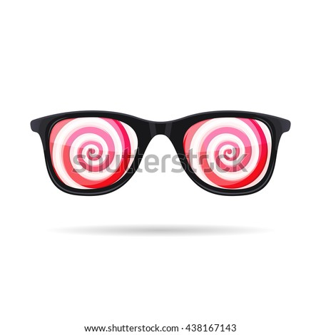Sunglasses with Hypnotic Spirals onWhite Background. illustration - stock photo