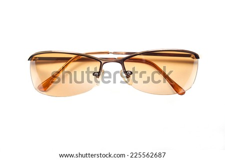 Sunglasses with metal frame isolated on white background - stock photo