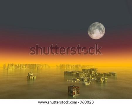 Sunken city - stock photo