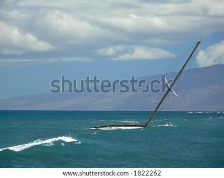 Sunken Sailboat - stock photo