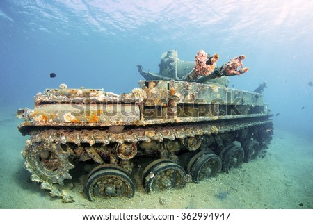 Sunken wreck of a tank in Aqaba, Red Sea, Jordan. - stock photo