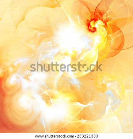 Sunlight. Abstract artistic dynamic background with lighting effect. Bright flash and futuristic yellow clouds with twirl, swirl. Glowing digital artwork, poster, banner, cover. Fractal art - stock photo