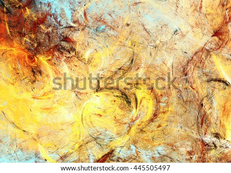 Sunlight. Abstract painting texture in summer color. Modern futuristic shiny pattern. Bright dynamic background. Fractal artwork for creative graphic design - stock photo