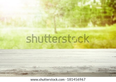 sunlight and desk of white  - stock photo