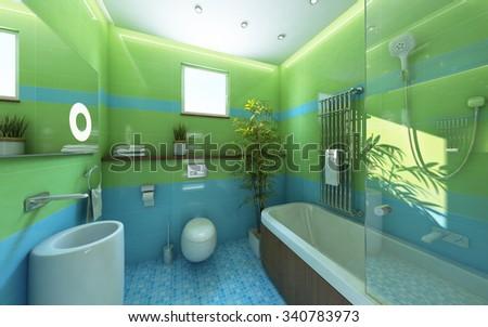 Sunlight Bathroom Green Shiny Tile 3d Rendering - stock photo
