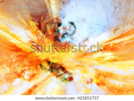 Sunlight. Bright sun rays. Abstract painting texture with sun rays. Modern futuristic shiny pattern. Bright color dynamic background. Fractal artwork for creative graphic design - stock photo