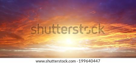 Sunlight in warm summer sky - stock photo