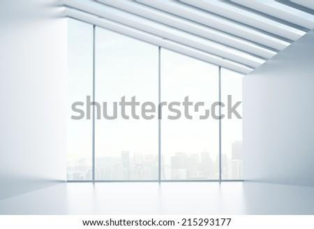 sunlight interior and big window - stock photo