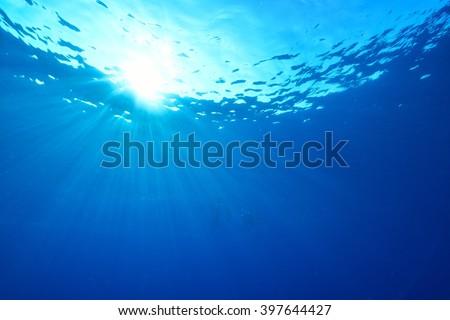 sunlights of underwater - stock photo