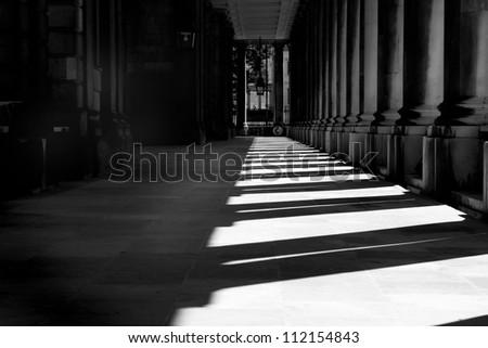 Sunlit corridor Royal Naval College Greenwich - stock photo