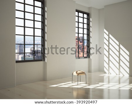 Sunlit interior design with a stool and big windows with city view. 3D Render - stock photo