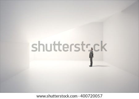 Sunlit interior design with blank white concrete wall and thoughtful caucasian businessman. Mock up, 3D Rendering - stock photo