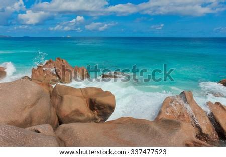 Sunlit Sea Foam LaDigue Stones  - stock photo
