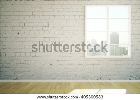 Sunlit white brick interior design with window and wooden floor. 3D Rendering - stock photo
