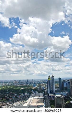 Sunny Aerial City View Panorama - stock photo