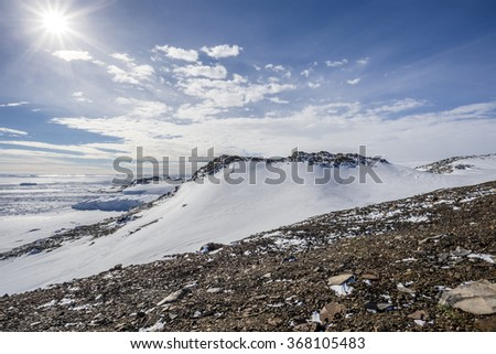 Sunny Antarctic scene - stock photo