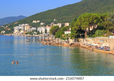 Sunny beaches and promenade near the Adriatic sea, Opatija, Croatia - stock photo