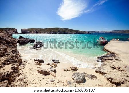Sunny Blue lagoon on the Comino Island, Malta - stock photo