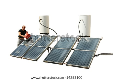 Sunny boiler washing - stock photo