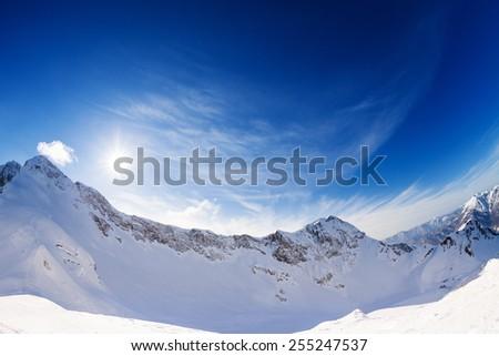 Sunny bright winter landscape of Caucasus, Sochi - stock photo