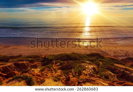 Sunny California Beach. Beautiful Sunny Day on the Beach. Southern California Ocean Shore Landscape. - stock photo