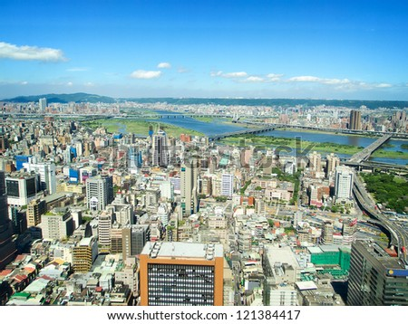 Sunny cityscape in Taipei City - stock photo