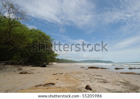 Sunny Costa Rica Tropical Beach and Coastline in Mal Pais - stock photo