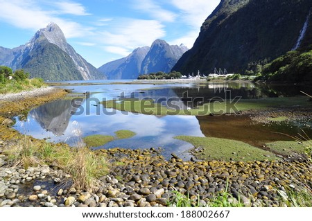 sunny day at Milford sound - stock photo