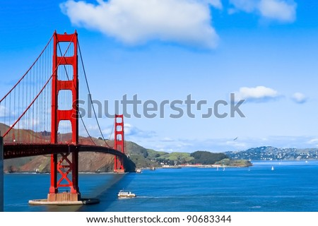 Sunny day at The Golden Gate Bridge in San Francisco, California - stock photo