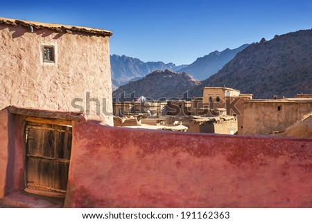 sunny day in mountain village in Morocco  - stock photo