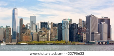 Sunny day in New York. View of Manhattan skyline in NYC - stock photo