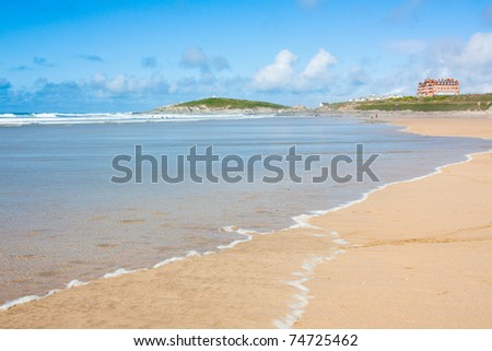 Sunny day on Fistral Beach Newquay Cornwall England UK - stock photo