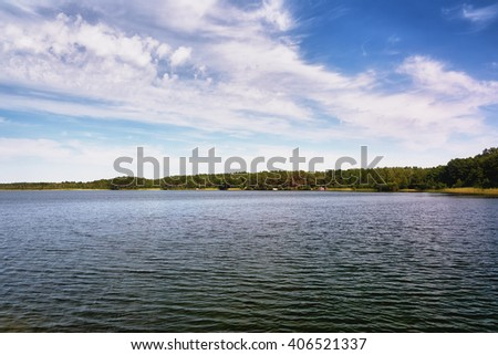 Sunny day on the lake - stock photo