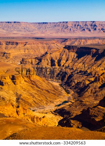 Sunny day view of Fish River Canyon, Namibia - stock photo