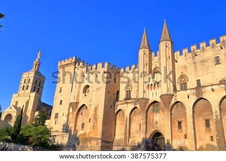 Sunny facade with Gothic design of the Papal Palace (Palais des Papes) in Avignon, Provence, France - stock photo