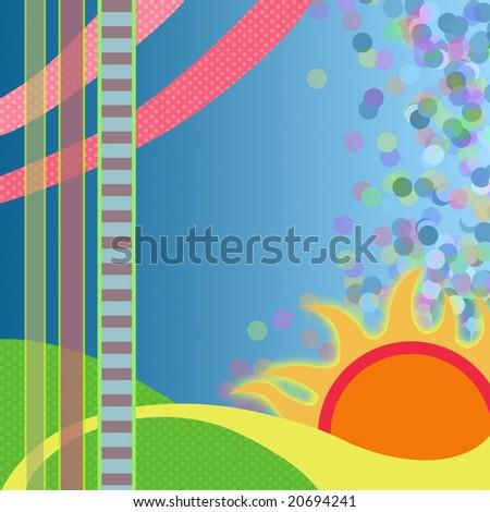Sunny Geometric Background - stock photo