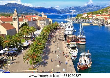 Sunny harbor near old Venetian town of Trogir, Croatia - stock photo